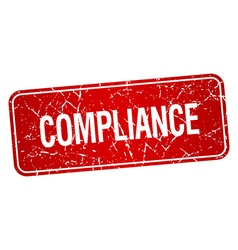 Compliance red square grunge textured isolated vector