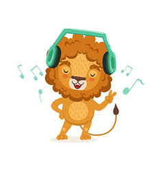 cute young lion cartoon character standing with vector image