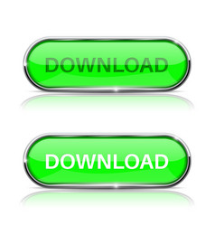 Download button shiny green oval web icon vector
