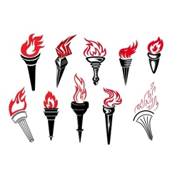 Flaming torch icons vector image vector image