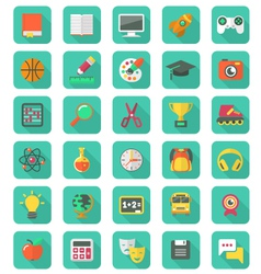 Flat education and leisure icons set vector