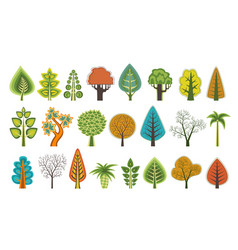 flat silhouettes of trees vector image vector image