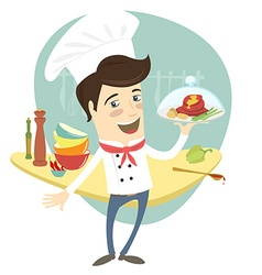 Funny chef serving meat dish in the kitchen vector