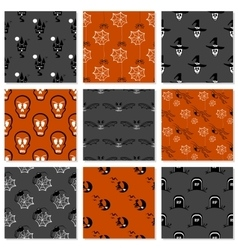 Halloween Seamless Patterns Set vector image vector image