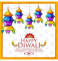 Hanging kandil on happy Diwali Holiday background vector image vector image