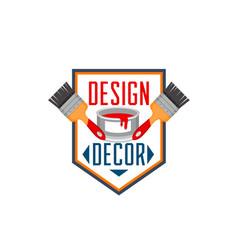 home decor paint brush interior design icon vector image vector image