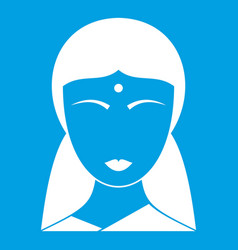 Indian woman icon white vector
