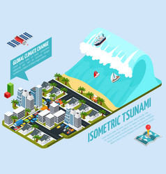 Isometric tsunami global warming composition vector