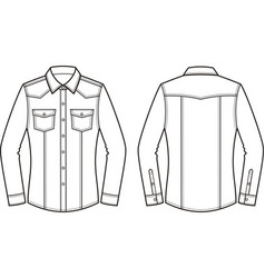 jean shirt front and back vector image vector image