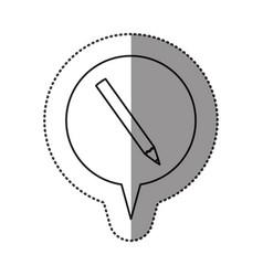 monochrome contour sticker with pencil icon in vector image vector image