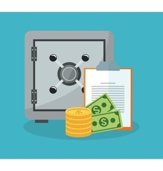 Safe box and money items vector