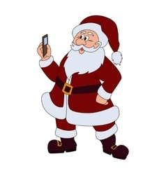 Santa claus with mobile phone vector image