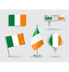 Set of irish pin icon and map pointer flags vector