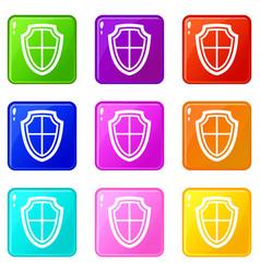 shield set 9 vector image vector image