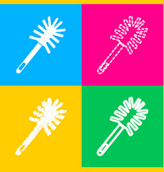 Toilet brush doodle four styles of icon on four vector