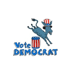Vote democrat donkey mascot jumping over barrel vector