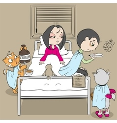 Woman patient on bed and doctor cat medic gives vector