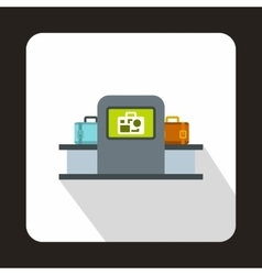 Airport baggage security scanner icon flat style vector