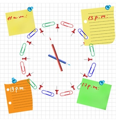 Office clock concept with pencil pin and sticker vector image