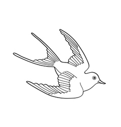 Contour image of bird flying hand drawn vector image