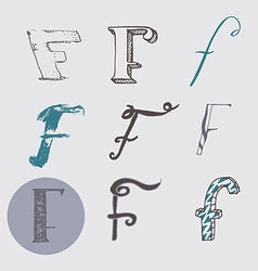 Original letters f set isolated on light gray vector