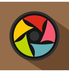 Video lens icon flat style vector