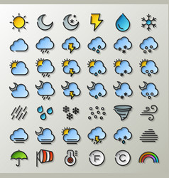 Flat line weather icons vector