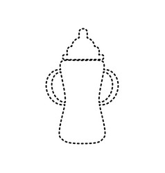 Baby bottle sign  black dashed icon on vector