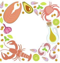 Fresh seafood flat design vector