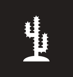 white icon on black background cactus sign vector image