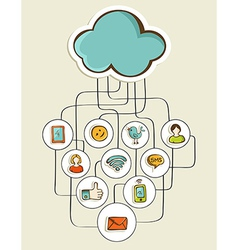 Cloud computing network sketch vector