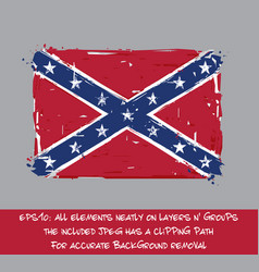 confederate rebel flag flat - artistic brush vector image