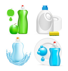 Realistic dishwashing liquid product icon vector