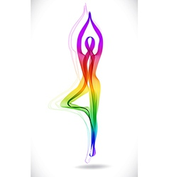 Yoga pose tree abstract color vector