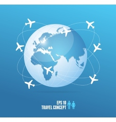 Airplanes flying around the globe travel concept vector