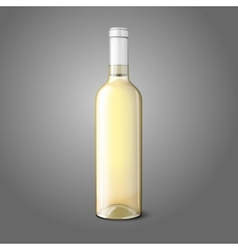 Blank realistic bottle for white wine vector