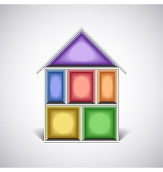 Colorful empty house rooms in cut vector