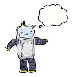 Cartoon robot with thought bubble vector