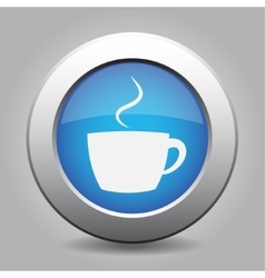 Blue metal button with cup with smoke vector