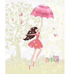 Happy girl with a pink umbrella Mary Poppins Happy vector image