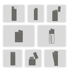 Monochrome icon set with lighter vector
