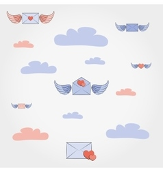 Envelopes with wings and hearts in the clouds vector