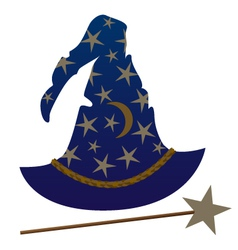 wizard hat and wand vector image