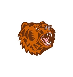 California grizzly bear head growling woodcut vector