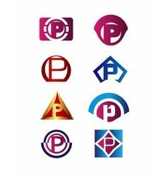 Set of letter P logo Branding Identity Corporate vector image