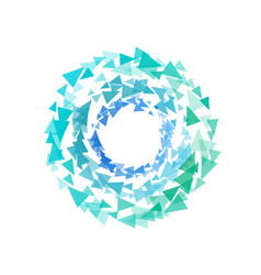 abstract circle shape by triangles polygonal vector image