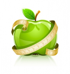 apple with measuring line vector image