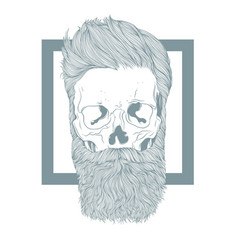 Bearded hipster skull with stylish hairstyle vector