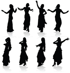 belly dancing black woman silhouette vector image