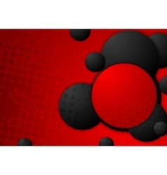 Black and red circles grunge background vector image